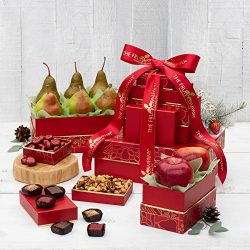Holiday Gift Tower- The Fruit Company 5 Holiday-Themed Boxes Filled with Chocolate Covered Cherr ...