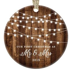 First Christmas as Mr & Mrs Ornament 2019 Rustic 1st Year Married Newlyweds 3″ Flat Ci ...