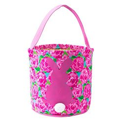 HLIKEM Easter Bunny Bags for Kids Cloth Easter Eggs/Gift Basket Easter Party Tote Bags for Kids  ...