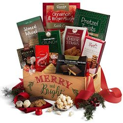 2019 Christmas Basket of Gourmet Holiday Gifts – Wooden Christmas Gift Crate of Truffles,  ...
