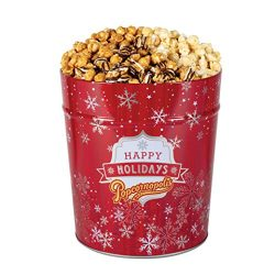 Popcornopolis Gourmet Popcorn 3.5 Gallon Red SnowflakeTin – Premium Including Zebra, Caram ...