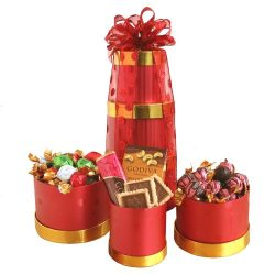 California Delicious Holiday Gift Tower Containing Godiva Chocolate, 6 Pound