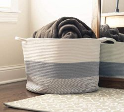 EverLove Creations Large Blanket Basket Living Room – Woven Basket 20″ x 13″ & ...