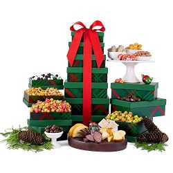 Deck the Halls Holiday Gift Tower of Cookies, Popcorn, Chocolate, Nuts, Sausage, Cheese and Snacks