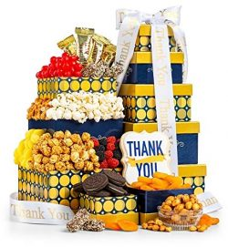 GiftTree 24K Gold Thank You Gift Tower | Includes Almond Roca, Red Chile Peanuts, Toffee Popcorn ...