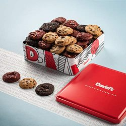 NEW! David's Fresh-Baked Cookies Tin, 0.50 oz Assorted Mini Cookies With Chocolate Chip, C ...