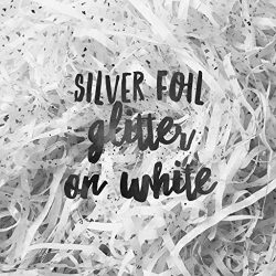 White Silver Glitter Reflections Shredded Tissue Paper Shred Hamper Gift Box Basket Filler Fill  ...