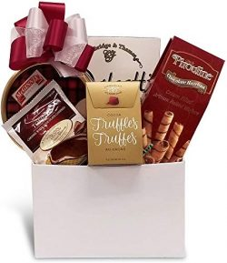 Christmas, Holiday, Birthday, Thank-You Gift Basket with Truffles, Cookies, Chocolate Wafers and ...