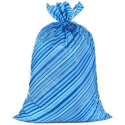 Hallmark 56″ Large Holiday Plastic Gift Bag (Blue Stripes with Gift Tag) for Hanukkah, Chr ...