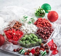 Christmas Holiday Nuts And Candy Gift Basket, Gourmet Corporate Gift Tray, 7 Section Assortment  ...