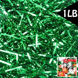 Green Crinkle Cut Paper Shred Filler Gift Filler 1 LB for Gift Wrapping Basket Filling Shiny Green