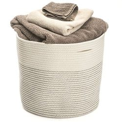 Storage Basket Extra Large Cotton Rope Woven 17″x15″ Home Organizer Baskest Hand Wov ...