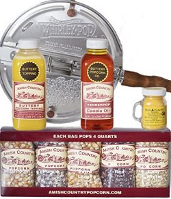 Amish Country Popcorn – 6 Quart Whirley Pop Stovetop Popcorn Gift Set – with Recipe  ...