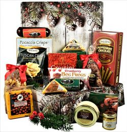 Home For The Holidays Care Package, Deluxe Gift Box with Meat and Cheese, Crackers and Cheese Sp ...
