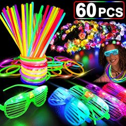 60 PCS Glow in the Dark Party Supplies Glow Sticks Bulk 2020 New Year LED Party Favor Light Up T ...
