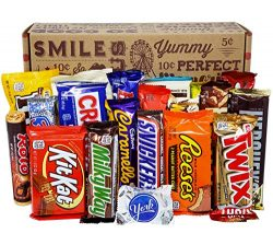 VINTAGE CANDY CO. CHOCOLATE LOVERS FULL SIZE CANDY BAR SNACK GIFT BASKET – PERFECT For Adu ...