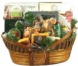 Home For The Holidays, Christmas Gift Basket With Unique Wisconsin Meats And Cheeses, Mixed Nuts ...