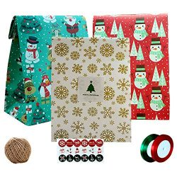 Christmas Gift Bags,24 Pcs Paper Gift Wrapping Bags Kit with 18 Pcs Stickers/1 Hemp Rope/ 2 Ribb ...