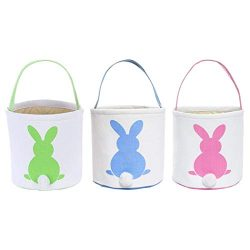 Easter Egg Hunt Basket for Kids Bunny Canvas Tote – Party's Celebrate Decoration Egg ...