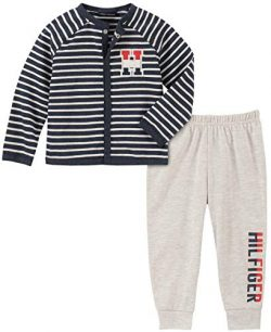 Tommy Hilfiger Baby Boys 2 Pieces Cardigan Pants Set, Navy Stripes/Oatmeal, 6-9 Months
