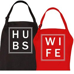 Let the Fun Begin Couples Aprons His Hers Wedding Gifts – Hubs and Wife Apron Set | Bridal ...