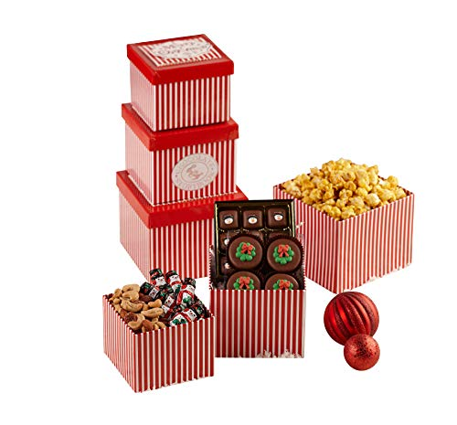 Merry Christmas Gourmet Treat Tower – Assorted Chocolate, Nuts, Candies, and Snacks, Uniqu ...