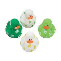 Fun Express Mini Shamrock Rubber Duckies (Set of 24) St. Patrick's Day Toys and Party Favors