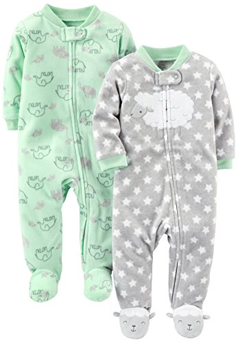 Simple Joys by Carter's Baby 2-Pack Fleece Footed Sleep and Play, Lamb/Elephant, 0-3 Months