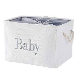 INough Baby Basket, Fabric Baby Shower Storage Bin for Boys or Girls,Towels,Wipes,Diapers and To ...