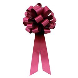 Burgundy Pull Bows with Tails – 8″ Wide, Set of 6, Christmas, Presents, Gift Basket, ...
