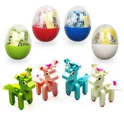 QINGQIU 4 Pack Unique Unicorn Building Blocks Toys in Plastic Easter Eggs for Kids Boys Girls Ea ...