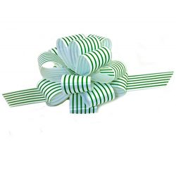Christmas Gift Wrap Pull Bows -5″ Wide, Set of 6, Green and White Stripes, Gift Basket, Ch ...