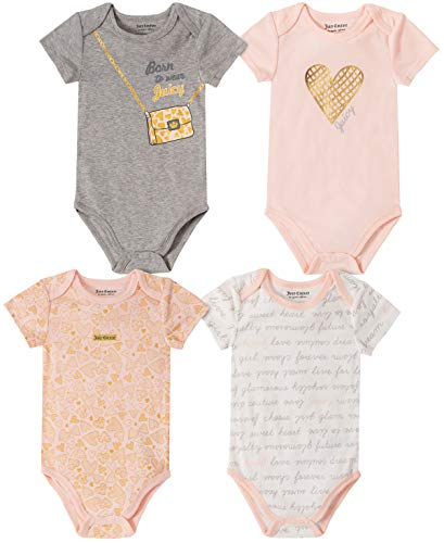 Juicy Couture Baby Girls 4 Pieces Pack Bodysuits, Gray/Print/Pink, 3-6 Months