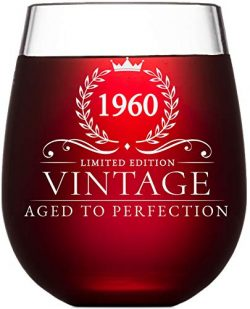 60th Birthday Gifts for Women and Men Turning 60 Years Old – 15 oz. Vintage 1960 Wine Glas ...
