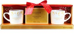 Thoughtfully Gifts, Godiva Cocoa for 2 Gift Set, Includes 2 Mugs and 2 Milk Chocolate Cocoa Mixes