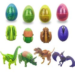 Anditoy Dinosaur Deformation Toys in Plastic Easter Eggs for Kids Boys Girls Toddlers Easter Gif ...