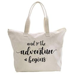 ElegantPark And So the Adventure Begins Wedding Bride Tote Bridal Shower Gift Travel Shoulder Ba ...