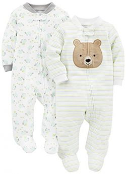 Simple Joys by Carter's Baby Neutral 2-Pack Cotton Footed Sleep and Play, Bear/Turtle, 0-3 ...
