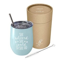 She Believed She Could So She Did – 12 oz Stainless Steel Stemless Wine Tumbler with Lid a ...