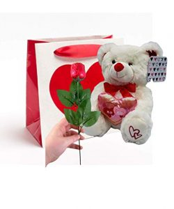 Valentine's Day Gift Basket | 10 Inches Teddy Bear Plush (Color May Vary), Valentine Theme ...