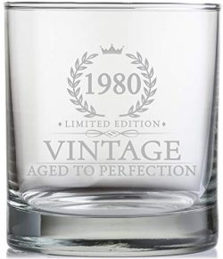 40th Birthday Gifts for Men Turning 40 Years Old – 11 oz. Vintage 1980 Whiskey Glass ̵ ...
