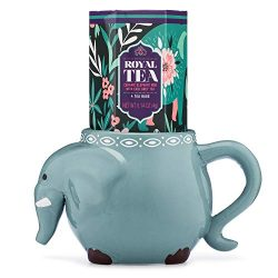 Thoughtfully Gifts, Elephant Mug Gift Set, Includes Elephant Mug with 3 Bags of Earl Grey Tea