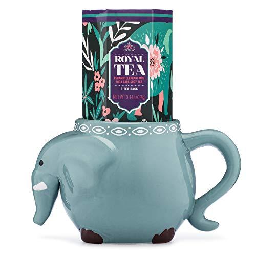 Thoughtfully Gifts, Elephant Mug Gift Set, Includes Elephant Mug with 3 Bags of Earl Grey Tea