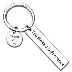 ecobuty You Make A Difference Keychain Thank You Gift for Volunteer Mentor Employee Gift (Differ ...