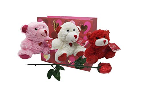 Valentines Day Gift Basket | 3 Teddy Bears Plush 6 Inches each | One Belgian Milk Chocolate Rose ...