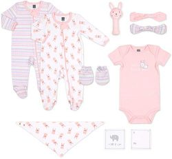 The Peanutshell Newborn Gift Set, 10 Piece Layette Set with Rattle and Bib in Boy, Girl, and Uni ...