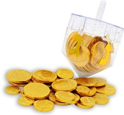 Dreidel Filled with Hanukkah Chocolate Gelt Coins – Belgian Chocolate Coins – Chanuk ...