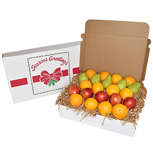 Gourmet Fruit Basket, Mixed Holiday Sampler Box with Pears, Apples, and Oranges