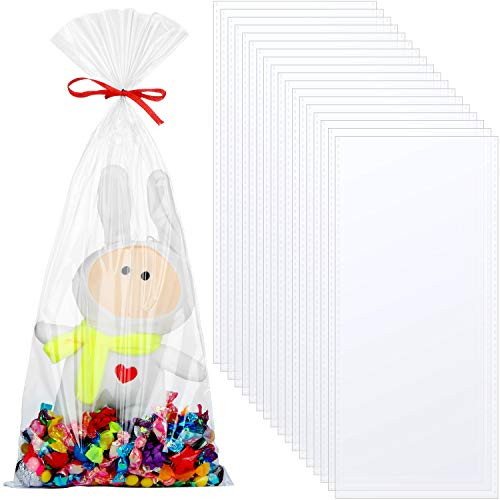 Tatuo 20 Packs Clear Basket Bags Cellophane Wrap Plastic Bag for Valentine's Day Easter Gi ...