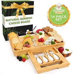 Cheese Board, Cheese Tray, Charcuterie Board: includes 4 Cheese Knives, 3 Ceramic Bowls, BONUS 6 ...